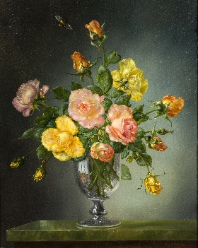 Roses in a Georgian Glass Goblet