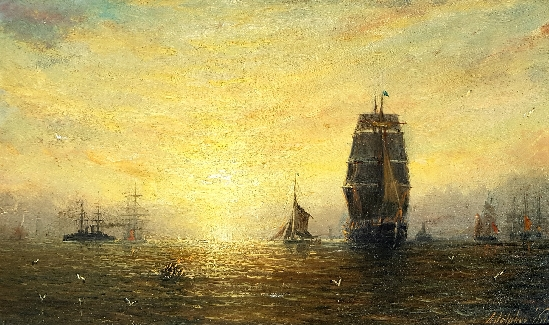 Adolphus Knell - Shipping at Dusk
