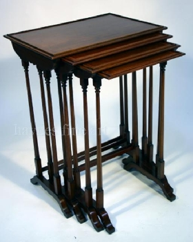 A Nest of Four Sheraton Revival Mahogany and Inlaid Tables. Circa 1890