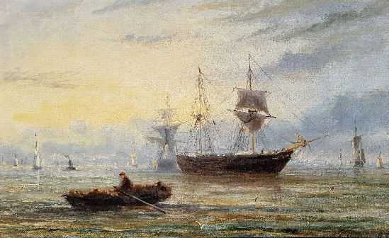 Adolphus Knell - Shipping off the Coast at Dawn