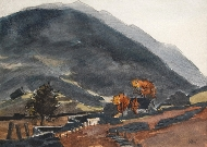 Snowdonia Landscape with Cottage and Autumnal Trees