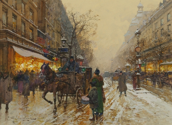 Eugene Galien Laloue - Horse Drawn Carriage on the Grands Boulevard