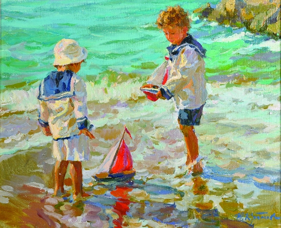 Yuri Krotov - Children Playing with Toy Ships