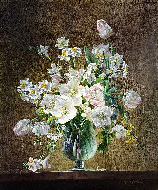 Still Life of Flowers in a Glass Vase
