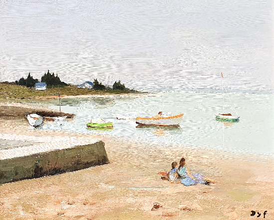 Marcel Dyf - Boating Along the Shore, Brittany