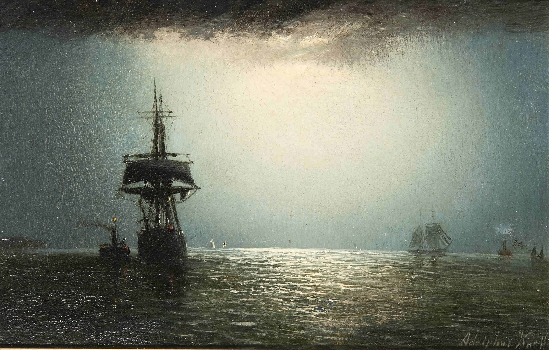 Adolphus Knell - Shipping on Calm Seas by Moonlight