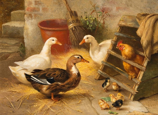 Edgar Hunt - Poultry & Ducks in a Farmyard