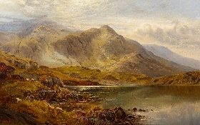 Mountainous Lakeland Scene with Sheep and Cattle
