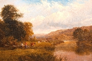 Cattle Drovers in a River Landscape