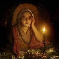 Young girl selling vegetables in the candle light.