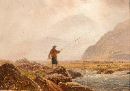 Fisherman in a Mountainous Landscape