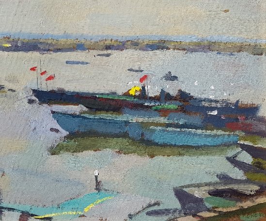 Professor Ken Howard, OBE, RA - Fishing Boats, Lagoon, Venice