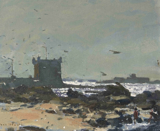 Professor Ken Howard, OBE, RA - A Figure on The Coast in Brittany