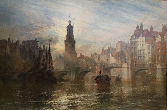 Henry Thomas Dawson - Evening Light over the Amstel River, Amsterdam