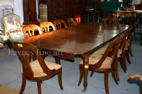 A rare set of William IV Mahogany Chairs, raised on four sabre legs. Circa 1840