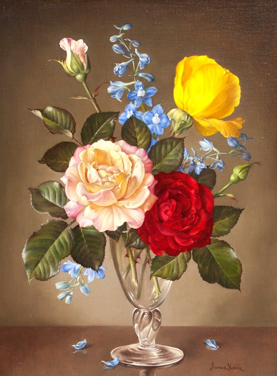 James Noble - Still Life of Roses and Delphiniums