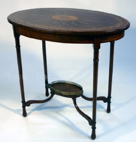 A Sheraton Revival Mahogany and Marquetry Oval Occasional Table. Circa 1885