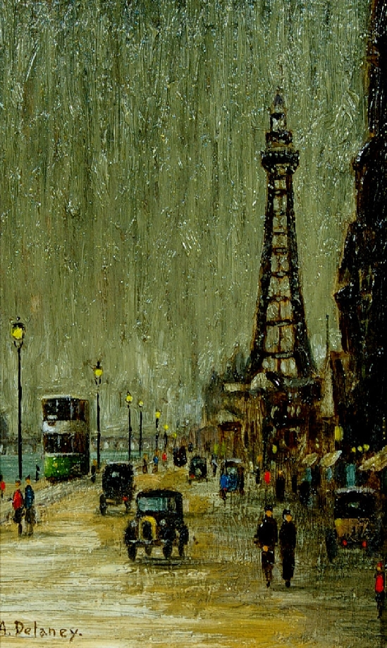 Arthur McEvoy Delaney - The seafront with Blackpool Tower