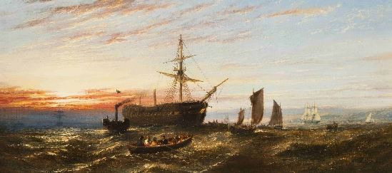 William Adolphus Knell - Shipping at Sunset