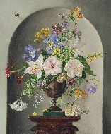 Still Life of Flowers on a Pedestal with a Bumblebee and a Ladybird