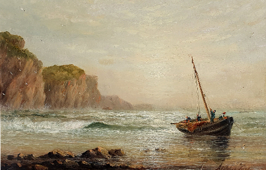 William Adolphus Knell - Fishing Boats on the Shore