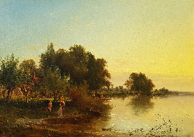 Fisherman in a Punt, on a Summer's River