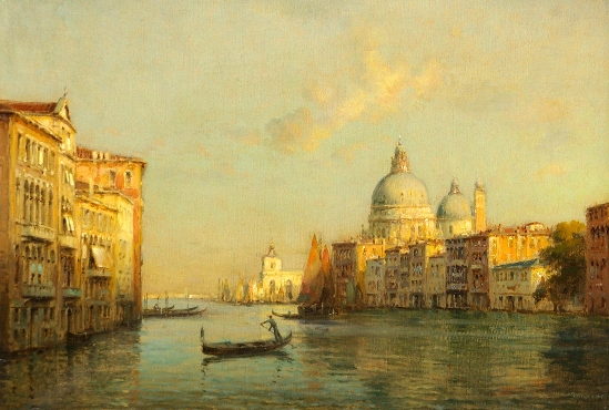 Antoine Bouvard. Snr - Gondolds Before The Custom House & Santa Maria Della Salute, Venice