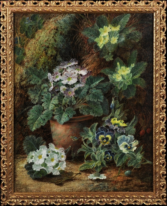 Oliver Clare - Still Life of Flowers on a Mossy Bank