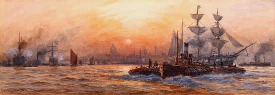 Charles John de Lacy - Busy Shipping on The Thames